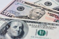 деньги Долларовая банкнота 100 и 50 Стоковая Фотография RF