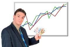 деньги евро бизнесмена показывая детенышей Стоковые Изображения