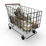 Деньги евро магазинной тележкаи иллюстрация штока