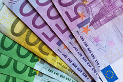 деньги евро счетов кредиток Стоковое фото RF