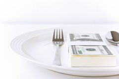 деньги еды Стоковые Фотографии RF