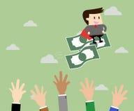 Деньги летания катания бизнесмена и конкуренция дела иллюстрация штока