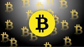 Деньги желтого цвета черноты вектора Bitcoin стоковые фотографии rf