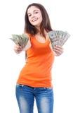 Деньги женщины предлагая Стоковые Изображения RF