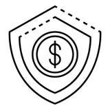 Деньги защищают значок депозита, стиль плана иллюстрация штока
