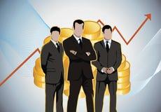 Деньги золота диаграмм бизнесменов экономические Стоковое Фото