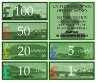 Деньги игры английского фунта с темой природы иллюстрация вектора