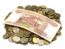 Деньги, изменение, пенни, бумажные деньги Стоковое Фото
