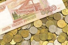 Деньги, изменение, пенни, бумажные деньги Стоковое Изображение