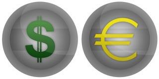 деньги иконы кнопки Стоковые Фото