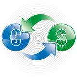 деньги иконы обменом Стоковое Изображение
