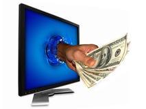 деньги интернета стоковая фотография rf