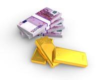 Деньги и золото евро иллюстрация штока