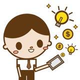 Деньги и идея таблетки пользы бизнесмена компьютерные появляясь от экрана Иллюстрация вектора