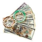 Деньги и ювелирные изделия Стоковые Фотографии RF