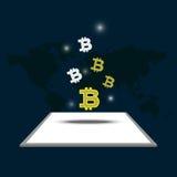 Деньги и bitcoin цифров иллюстрация вектора