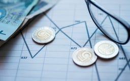 Деньги, карандаш, стекла лежа на диаграмме стоковые фотографии rf