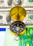 деньги компаса Стоковые Фото