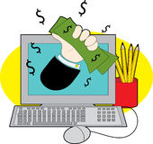 деньги компьютера Стоковая Фотография RF