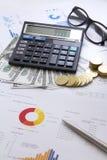 Деньги концепции финансов, диаграмма, монетка, Стоковая Фотография RF