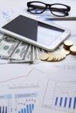 Деньги концепции финансов, диаграмма, монетка, Стоковое Изображение RF