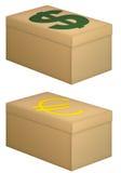 деньги коробки Стоковые Изображения RF