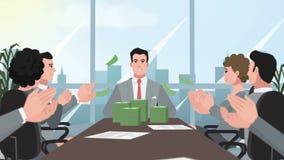 Деньги корпоративного/счастливого бизнесмена шаржа бросая сток-видео
