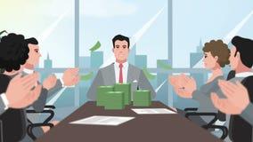 Деньги корпоративного/счастливого предпринимателя шаржа бросая акции видеоматериалы