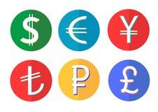 Деньги мира значков сети плоские Стоковые Изображения RF