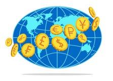 Деньги, монетки вращаясь по всему миру также вектор иллюстрации притяжки corel иллюстрация вектора