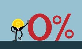Деньги монетки полагаются на красном цвете нул процентов Стоковая Фотография