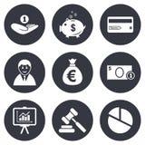 Деньги, наличные деньги и значки финансов Знак копилки иллюстрация штока