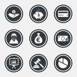 Деньги, наличные деньги и значки финансов Знак копилки бесплатная иллюстрация