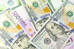 Деньги наличных денег США и EC Стоковые Фотографии RF