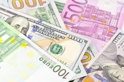 Деньги наличных денег США и EC Стоковые Фото