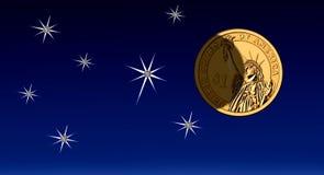 Деньги на небе, яркости & тени Доллар США иллюстрация штока