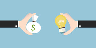 Деньги оплаты бизнесмена для идеи электрической лампочки, идеи дела, плоского d Стоковая Фотография