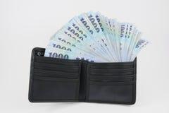 Деньги доллара нового Тайваня в бумажнике (2) Стоковое Фото