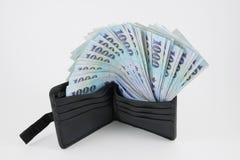 Деньги доллара нового Тайваня в бумажнике (3) Стоковое Фото
