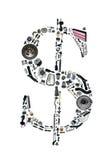 Деньги доллара с автозапчастями для автомобиля Стоковое Изображение RF