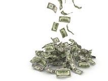 Деньги падая на кучу бесплатная иллюстрация