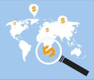 Деньги поиска по всему миру иллюстрация штока