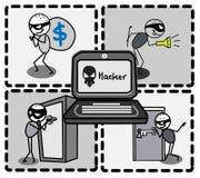 Деньги похитителя хакера   Стоковые Изображения