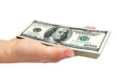деньги пригорошни Стоковое Изображение RF