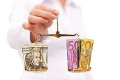 деньги принципиальной схемы баланса финансовохозяйственные стоковая фотография