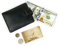 Деньги, пластичная карточка, портмоне на белой предпосылке Стоковое фото RF