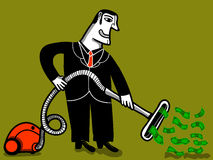 Деньги работника пылесоса aspiring иллюстрация штока
