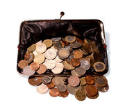 Деньги разлитые от открытого портмона Стоковые Фото