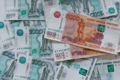 деньги Россия Банкноты 5 и тысячи рублей Стоковые Изображения RF