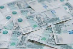 деньги Россия Банкноты тысяча рублей Стоковые Изображения